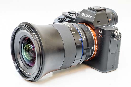 The Zeiss Milvus 18mm f/2.8 lens mounted on a Sony A7R II